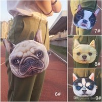 Wholesale Head Pussy - Wholesale 3D Pussy Cat Face Head Printed Shoulder Bag tiger dogs Handbag Purse Bag Chains Cross body women bag