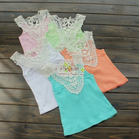 Wholesale Lace Back Girls Tank Tops - 2015 Summer New Baby Girl T-short Back Hollow-carved Lace Girls Lace Tank Tops