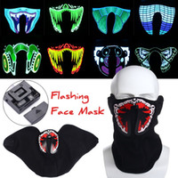 Wholesale Light Up Costume Men - Wholesale- Hot Flashing Face Mask Light Up Luminous for Outdoor Cycling Halloween Party Costume Decoration Bicycle Riding Half-face Mask