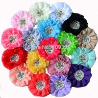 Wholesale Beaded Hair Colors - 50pcs  18 Colors Top Fashion Head Bands Selling Beaded Fabric Chiffon Ruffled Flowers Rhinestone Center for Kids Children Girls Headware