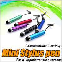 Wholesale Dust Plugs Galaxy - Stylus Pen Touch Screen Pen Mini Short Capacitive Stylus Pen Touch Screen With Anti-Dust Plug For ipad Mini iphone Samsung Galaxy Tablet PC