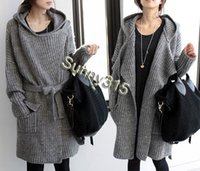 Wholesale Ladies Fall Sweaters - Fall Fashion Korean Plus Size Women Cardigan Hooded Sweaters Ladies Elegance Wool Blend Long Sweater Coat Winter Outwear