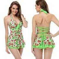 Wholesale Ruffle Swim Dress - In Stock Women Sexy Deep V Neck Strawberry Print Bow Swimsuit Swim dress Ruffle Swimwear One Piece Halter Dress Plus Size