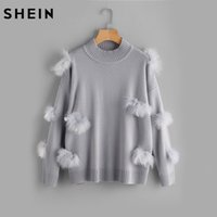 Wholesale Wool Ball Trimmer - SHEIN Ribbed Trim Faux Fur Ball Applique Jumper Women Sweaters and Pullovers 2017 Grey Long Sleeve Casual Sweater
