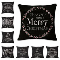 Wholesale Hand Painted Pillows - Hot sale Cotton and linen Hand painted illustration Pillow case household sofa cushion cover Christmas Pillowcase decoration IA916