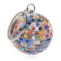 New Fashion Women Round Ball Circolare Strass Diamond Beaded Evening Bag Lady Wristlet Pochette Borsa Borsa per la cena di nozze del partito