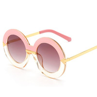 Wholesale Half Circle - Fashion Oversized Round Sunglasses Women Pink Gradient Circle Sun Glasses Female Half Transparent Gradient Oculos Free Shipping