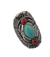 büyük taş gümüş yüzükler toptan satış-Bohem tarzı tibet gümüş tasarım kırmızı turkuaz gem taş kadınlar için büyük beachy boho eklem yüzük