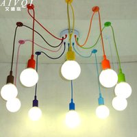 Wholesale Multi Color Led Bulbs E27 - Silicone Colorful Pendant Lights DIY Multi-color E27 Bulb Holder Lamps Home Decoration Lighting 4-12 Arms Fabric Cable Pendants