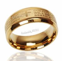 aguafuerte de acero inoxidable al por mayor-Grabado en acero inoxidable ENGLISH Prayer Prayer Cross Wedding Gold Band Anillo Tamaño 6-14 Nuevo