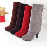 Wholesale Sexy Red Knee Boots - Women's Fashion Shoes Over the Knee Thigh Stretchy High Heels Boot 4 Sizes Sexy + Free Shipping