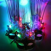 Wholesale holloween costumes women - Sexy Light Up LED Peony Flower Mask Masquerade Fancy Costume Party Weddings Women Girls Holloween Carnival Decor
