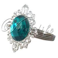 Wholesale Teal Blue Napkins - Wholesale-12pcs Teal Blue Gem Diamond Napkin Ring Serviette Holder Wedding Dinner Bridal Shower Favor Decor Free Shipping