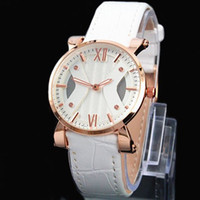 Wholesale piece leather - A piece lot Fashion Luxury Women Man Leather Watch Stainless Steel Rose gold Leather Watch Sexy Lady Wristwatch High Quality Famous Brand