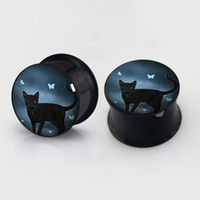 Wholesale black ear gauges resale online - mm mm Black animal Butterfly plugs steel anodized black ear plug gauges flesh tunnel ear expander BDP021