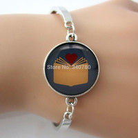 spring pictures backgrounds - Love Book Reading Bangle Glass Dome Art Picture Pendant Bracelets Red Heart and yellow book charm gray background Picture GL009