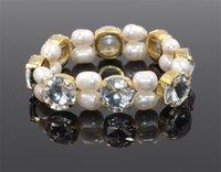 glasperlen weißes armband großhandel-Neuestes Armband-elegantes Süßwasser-Perlen-Glasbohrendes Valentinstag-Weihnachtsgeschenk-Partei-Weiß-Großhandels-Allgleiches
