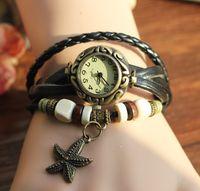 Wholesale Star Chronograph - 200pcs lot 2015 New Retro Weave Women Genuine Leather Vintage Watch bracelet star watch quartz Wrist watches 10colours mix