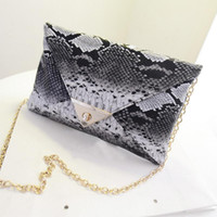 Wholesale Wholesale Women S Purses - Wholesale-2016 Brand New Women\'s Synthetic Leather Snake Skin Envelope Bag Day Clutches Purse Evening Bag