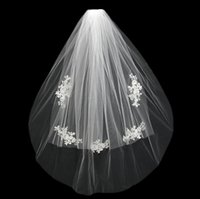 Wholesale White Wedding Vail - 2017 Short Wedding Bride Veil Custom Made Lace White Ivory Two Layers Tulle Comb Vail Accessories Hat Veil Bridal Veils Appliqued