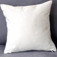 blank baumwolle kissenbezüge großhandel-(100pcs / lot) reine weiße Baumwollköperkissenabdeckung aus reiner Baumwolle mit verstecktem Reißverschluss für Gewohnheits- / DIY-Druckleerbaumwollkissenbezug irgendeine Farbe
