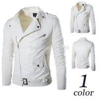 Wholesale Epaulette Jackets Collar - 2016 Autumn Epaulette design white PU leather jackets coat men casual slim fit oblique Zipper washing motorcycle leather jackets