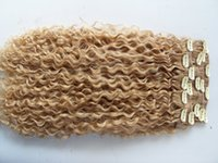 Wholesale Kinky Curly Hair Blonde - new brazilian curly hair weft clip in natural kinky curl weaves unprocessed blonde human virgin remy extensions chinese hair