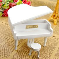 Wholesale Wood Carved Box - White Wooden Piano Music Boxes with City of the Sky