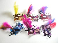 Wholesale Butterfly Masquerades Masks - Butterfly Feather Masks Masquerade Ball Masks Venetian Carnival Masks Festive Party Supplies 10pcs