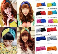 Wholesale Stretch Twist Headband - New Ladies Sport Yoga Twist Headband Bandana hijab Turban Women Stretch Headwrap Turbante Hair Accessories Free Shipping WHA59