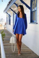 Wholesale Sapphire Blue Chiffon Dress - 2015 new women dresses plus size chiffon dress long sleeve women's dresses 5 colors v neck dresses Sapphire 531