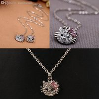 Wholesale Decorating Charms - Wholesale-New Fashion Jewelry Women Exquisite Charm Necklace With Lovely Cat Head Pendant Decorated By Crystals NL-021512