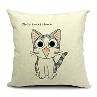 cojines de gato casa al por mayor-Lovely Cat Chi's Sweet Home Angry Chi's Throw Pillow Case Decoración Fundas de cojín Cuadradas 18 * 18 Pulgadas