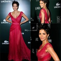 Wholesale Halle Berry Custom Dress - Sexy Backless Halle Berry Celebrity Dresses Red Elie Saab Prom Dresses V-Neck Lace Formal Gowns Party Dress Evening Dresses Plus Size J108