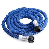 meme takımları toptan satış-Toptan 25FT-100FT Plastik Malzemeler A + Kalite Mavi Su Püskürtmeli Nozul Püskürtme Cihazları Genişletilebilir Esnek Su Hortumu Bahçe Pipo Seti