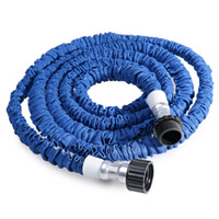 Wholesale 25ft expandable hose online - FT FT Plastic Materials A Quality Blue Water Spray Nozzle Sprayers Expandable Flexible Water hose Garden Pipe Set