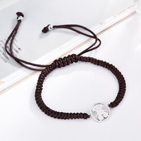 Wholesale Macrame Style Bracelets - New Titanium Steel Charms Macrame Handmade brown cords Bracelet adjustable Size Bracelet bears style 1pcs drop shipping Pulsera oso