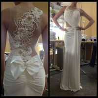Wholesale Elastic Satin Dresses - Sexy Nude Back Scalloped Sleeveless 2016 Wedding Dresses Pearls Beaded Julie Vino Sheath Wedding Dress