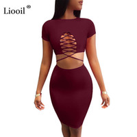 Liooil due pezzi Lace Up Autumn Dress manica corta O collo scava fuori la fasciatura Bodycon Dress Black Blue Women Sexy Club Abiti q171118