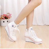 Wholesale High Top Wedges Heels - 2015 soild color star decoration high-heeled sneakers 8 cm wedge zipper lace high-top canvas shoes Free shipping