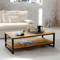Wholesale American country to do the old wood upscale living room coffee table solid wood furniture wrought iron casual custom rectangul