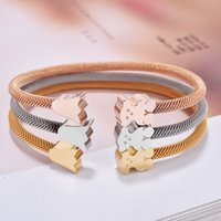Wholesale Crown Bracelet Cuff - New Stainless Steel Bear Crown Bangle Charms Bracelet 5 Colours Never Fade Open cuff Hot Selling For Women Pulsera oso