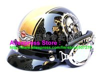 Wholesale Helmet Bol - Wholesale-P.53 Brand ABS Half Bol Vespa Cycling Half Face Motorcycle Black Motorbike Helmet Casco & Silver Goggles Adults M , L , XL