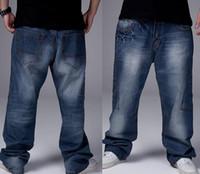 Wholesale Baggy Jeans Fashion - Fashion Man loose jeans hiphop skateboard jeans baggy pants denim pants hip hop men trousers 4 Seasons big size 30-46 GF072