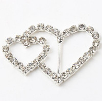 Wholesale Wedding Ribbon Buckles Sliders - 30pairs lot 14mm Bar 29X40mm Double Heart Crystal Rhinestone Ribbon Buckles Sliders Gift Wedding Supplies MIC