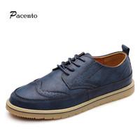 Wholesale Mens Brogues Shoes - Wholesale- Brogues Mens Shoes Vintage Color Block Large Size Men Wingtip Oxford Shoes for Men Leather Casual Patent Platform Oxfords Shoe