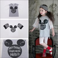 Wholesale Mikey Clothes - 2015 Girls Cartoon Mikey Mouse Printed T shirt fashion Sports Style tops lace Elbow layer dress summer clothes DHL free MOQ:100pcs SVS0481