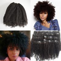 afro kinky curl saç uzantıları toptan satış-İnsan saç uzantıları afro kinky kıvırcık klip brezilyalı plaj bukleler insan saç klipleri ins 8-24instock sıcak satış G-EASY