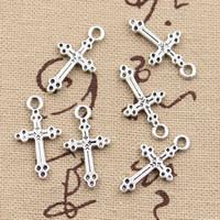 eski antika haç toptan satış-300 adet Charms çapraz 15 * 7mm Antik, Çinko alaşım kolye fit, Vintage Tibet Gümüş, DIY için bilezik kolye