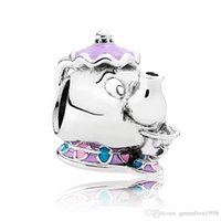 Authentische 925 Sterling Silber Bead Charm Nette Emaille Mrs Potts und Chip Perlen Fit Pandora Armband Armreif DIY Schmuck